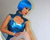 Futuristic babe in shiny blue latex  the future looks shiny and bright if we are all going to be wearing latex outfits like this  horny and daring. The future looks shiny and bright if we are all going to be wearing latex outfits like this. exciting and daring.