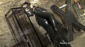 Gasmask and rubber tease